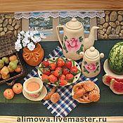 """Картины и панно ручной работы. Ярмарка Мастеров - ручная работа Панно из керамического теста """"Летний вечер на даче""""из керамического те. Handmade."""