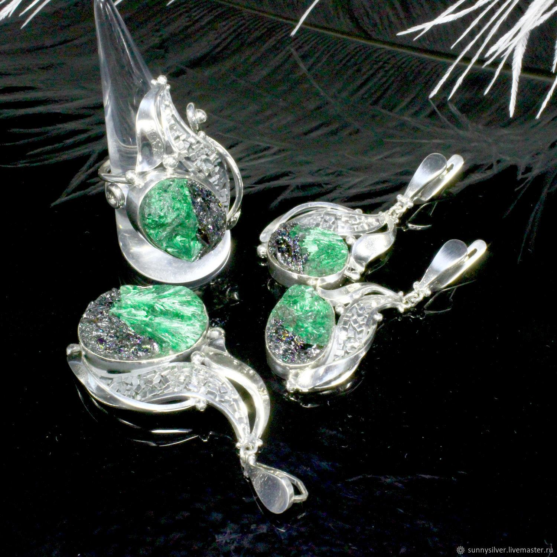 ADAI jewelry set with malachite and carborundum in silver (VIDEO), Jewelry Sets, Yerevan,  Фото №1