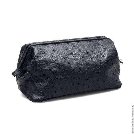 Мужские сумки ручной работы. Ярмарка Мастеров - ручная работа. Купить Барсетка из страусиной кожи. Handmade. Черный, сумка из кожи
