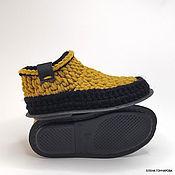 Обувь ручной работы handmade. Livemaster - original item Slippers-socks on the sole, p. .35, half-wool, yellow. Handmade.