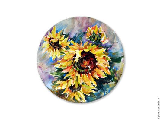 Керамическая тарелка `Подсолнух`. Керамика ручной работы. Ярмарка мастеров.