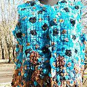 Одежда ручной работы. Ярмарка Мастеров - ручная работа Жилетка женская крейзи вул Бирюза и шоколад. Handmade.