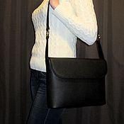 Сумки и аксессуары handmade. Livemaster - original item Lightweight shoulder bag with two straps black Italian genuine leather.. Handmade.