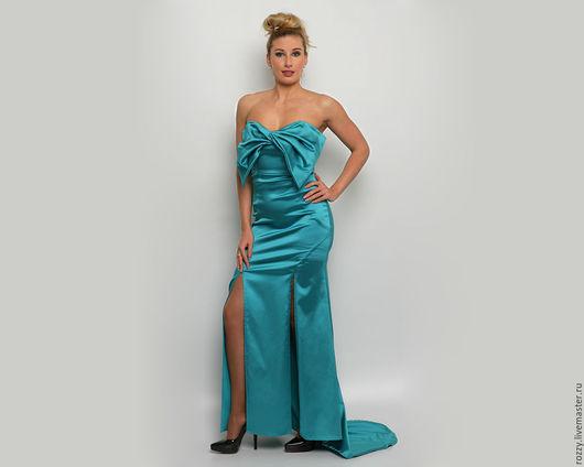 Платья ручной работы. Ярмарка Мастеров - ручная работа. Купить платье изумрудное с бантом. Handmade. Тёмно-бирюзовый, атласное платье