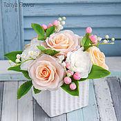 Цветы и флористика ручной работы. Ярмарка Мастеров - ручная работа Букет цветов  с розами и ландышами. Handmade.