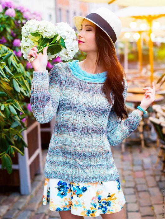 """Кофты и свитера ручной работы. Ярмарка Мастеров - ручная работа. Купить Пуловер """"Голубое утро"""""""". Handmade. Голубой, свитер теплый"""