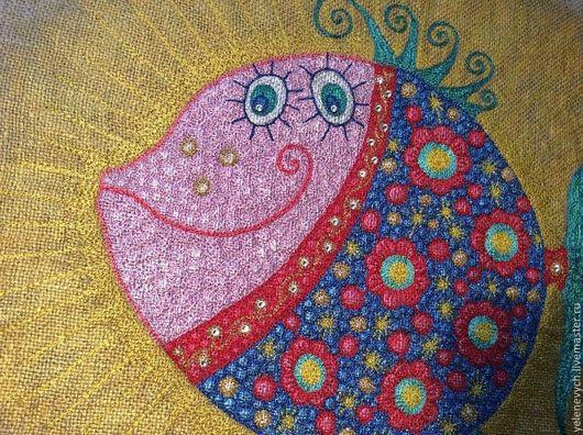 """Животные ручной работы. Ярмарка Мастеров - ручная работа. Купить Авторская вышитая картина """" Рыба"""". Handmade. Разноцветный"""