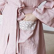 Одежда handmade. Livemaster - original item Linen dressing gown Darling long powder color. Handmade.