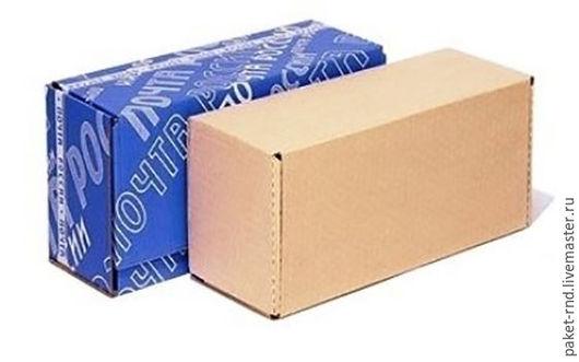 Упаковка ручной работы. Ярмарка Мастеров - ручная работа. Купить Почтовая коробка В №4 бурая. Handmade. Синий, гофра