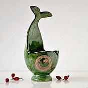 Для дома и интерьера ручной работы. Ярмарка Мастеров - ручная работа Керамическая вазочка Нефритовая Рыбка. Handmade.