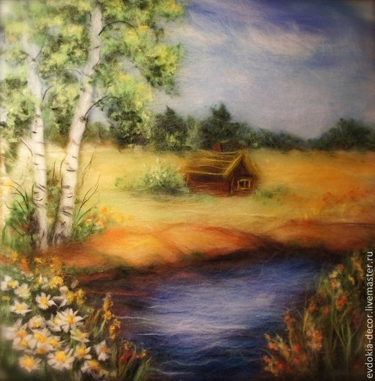 Пейзаж ручной работы. Ярмарка Мастеров - ручная работа. Купить Пейзаж. У реки.. Handmade. Пейзаж, картина, на стену, из шерсти