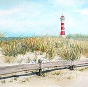 Картины и панно ручной работы. Ярмарка Мастеров - ручная работа Акварель Ветер в дюнах. Handmade.