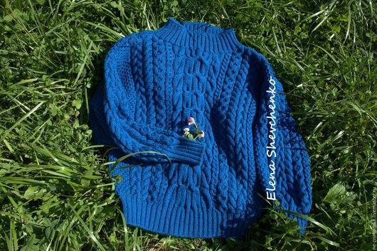 Кофты и свитера ручной работы. Ярмарка Мастеров - ручная работа. Купить Длинный объемный свитер косами. Handmade. Тёмно-синий