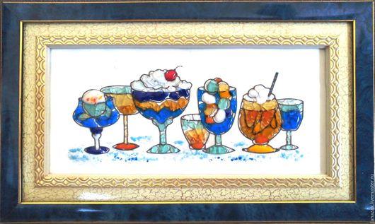 Натюрморт ручной работы. Ярмарка Мастеров - ручная работа. Купить Панно из стекла на керамике Десерт. Фьюзинг.. Handmade. Комбинированный, десерт