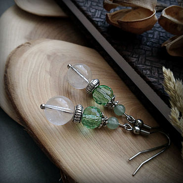 Decorations handmade. Livemaster - original item Earrings with natural rock crystal and agate.. Handmade.