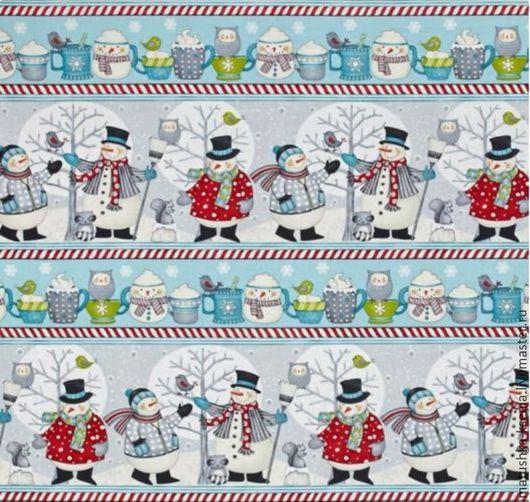 Шитье ручной работы. Ярмарка Мастеров - ручная работа. Купить Новогодняя ткань бордюры снеговики для тильды, пэчворка. Handmade.