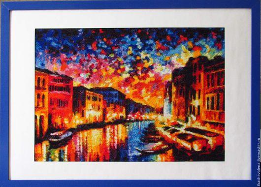 """Город ручной работы. Ярмарка Мастеров - ручная работа. Купить Вышитое панно """"Венеция"""". Handmade. Комбинированный, панно на стену"""
