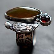 """Украшения ручной работы. Ярмарка Мастеров - ручная работа Кольцо серебро """"Птичка"""", серебряное кольцо из серебра с камнями. Handmade."""