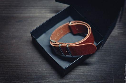 Браслеты ручной работы. Ярмарка Мастеров - ручная работа. Купить Кожаный ремешок для часов NATO 18mm. Handmade. Натуральная кожа
