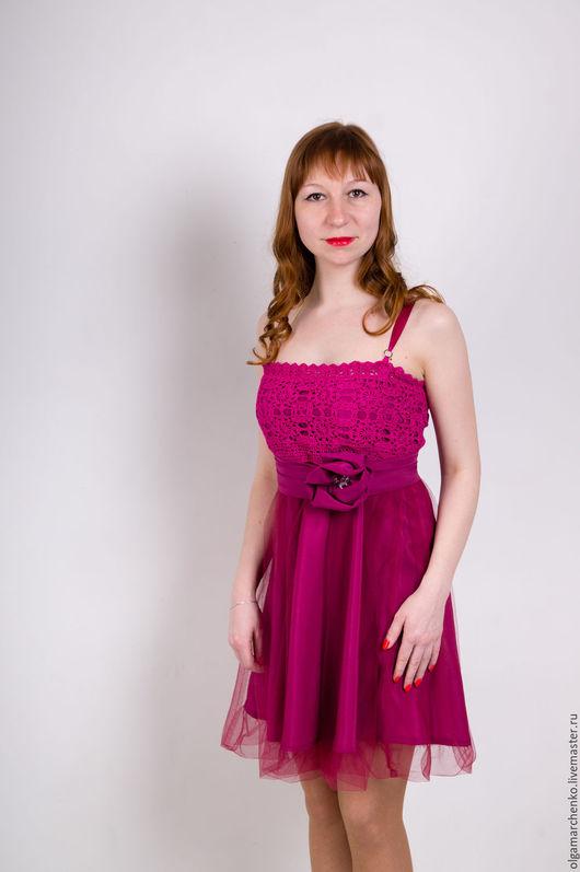 Платья ручной работы. Ярмарка Мастеров - ручная работа. Купить Комбинированное платье. Handmade. Фуксия, ручная авторская работа