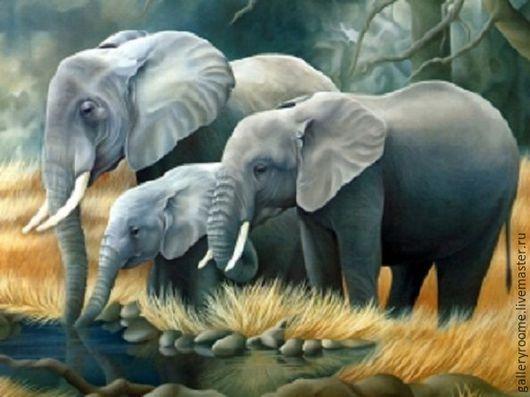 Другие виды рукоделия ручной работы. Ярмарка Мастеров - ручная работа. Купить Картина по номерам Семья слонов. Handmade.