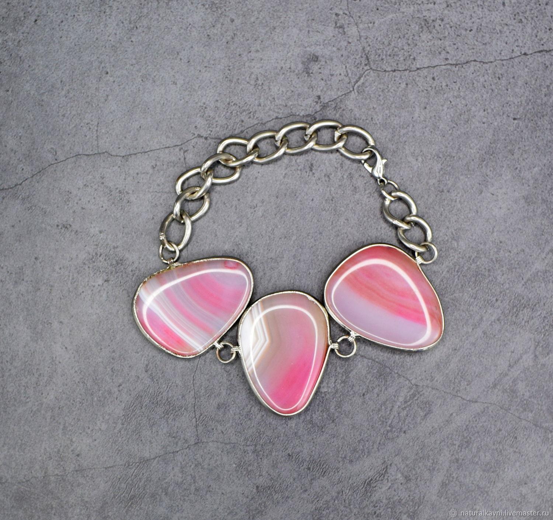 Natural pink agate bracelet, Bead bracelet, Moscow,  Фото №1