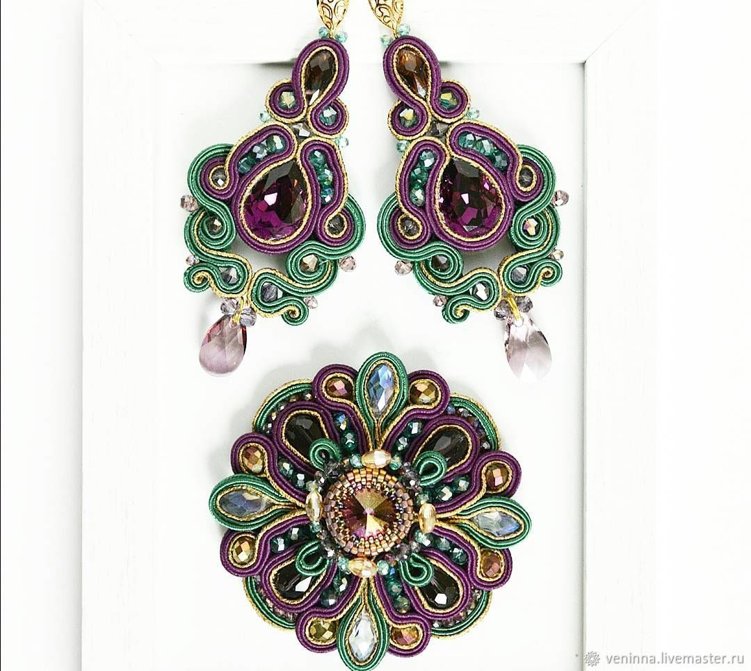 Set of earrings and brooch 'Velvet', Jewelry Sets, Moscow,  Фото №1