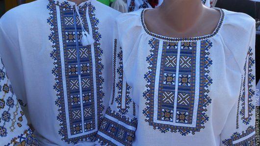 """Этническая одежда ручной работы. Ярмарка Мастеров - ручная работа. Купить Парные вышиванки для пары"""" Ромбы"""". Handmade. Белый"""