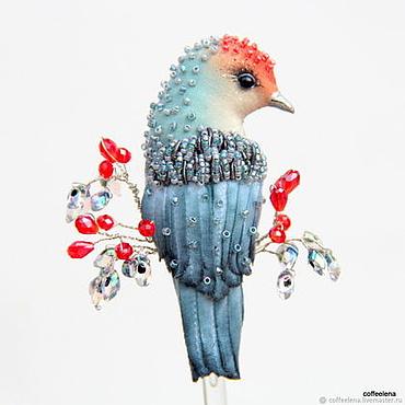 Украшения ручной работы. Ярмарка Мастеров - ручная работа Брошь-птица «Ноябрина».Текстильная миниатюрная птичка. Handmade.