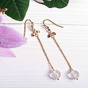 Украшения handmade. Livemaster - original item Long earrings in gold with crystal. Handmade.