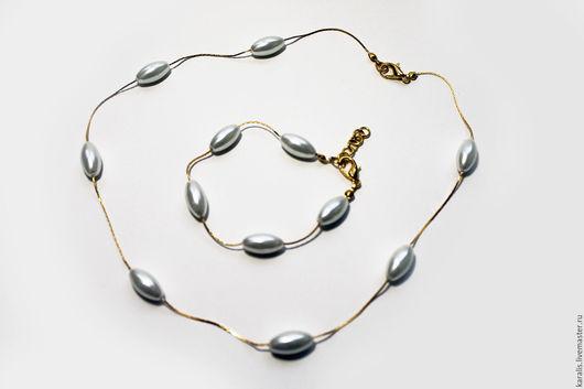 Комплекты украшений ручной работы. Ярмарка Мастеров - ручная работа. Купить Комплект ожерелье и браслет с жемчугом Майорка - 2 цвета. Handmade.