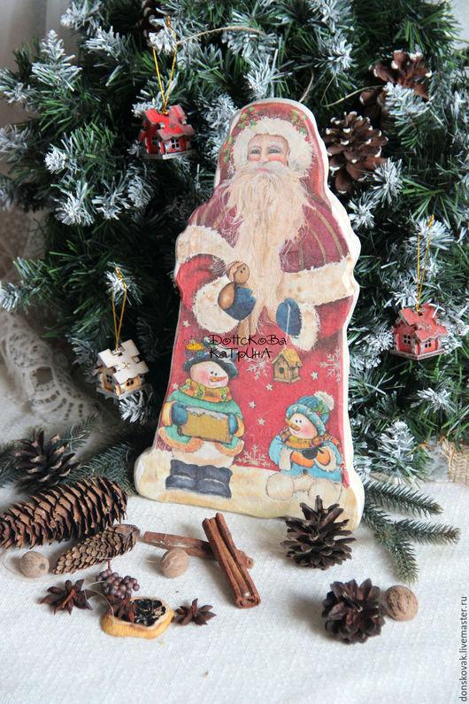 Новый год 2017 ручной работы. Ярмарка Мастеров - ручная работа. Купить Интерьерная досочка Дед Мороз. Handmade. Комбинированный