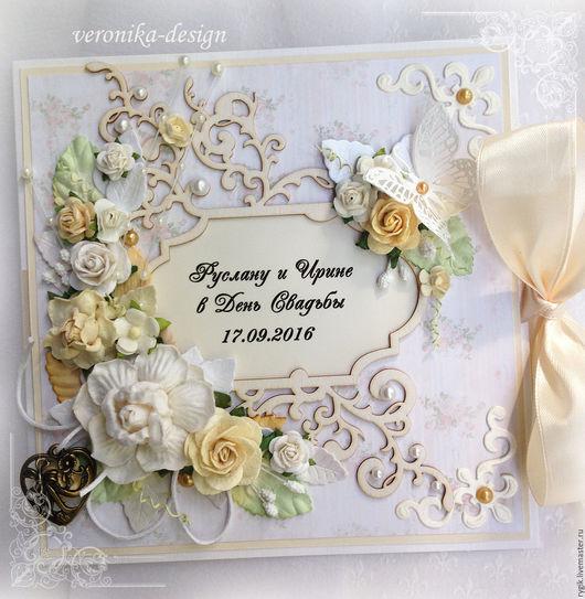 """Свадебные открытки ручной работы. Ярмарка Мастеров - ручная работа. Купить Свадебная открытка ручной работы """"Райский сад"""". Handmade."""