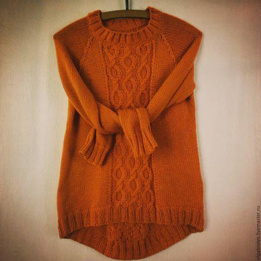 """Кофты и свитера ручной работы. Ярмарка Мастеров - ручная работа. Купить свитер с аранами """"orange"""". Handmade. Оранжевый, араны"""