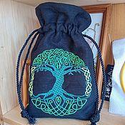 Bags handmade. Livemaster - original item Pouch Tree of Life linen black. Handmade.