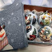 """Подарки к праздникам ручной работы. Ярмарка Мастеров - ручная работа набор елочных шаров в коробке """" Снеговик"""". Handmade."""