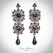 Украшения handmade. Livemaster - original item blue with silver. Earrings Montana. Blue crystals. Long earrings.. Handmade.