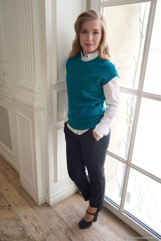 Classic merino vest turquoise blue, Vests, St. Petersburg,  Фото №1