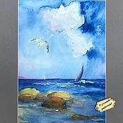 """Картины и панно ручной работы. Ярмарка Мастеров - ручная работа Акварель море """"После дождя"""" в раме/багет. Handmade."""