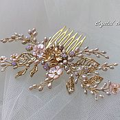 Свадебный салон handmade. Livemaster - original item Comb pink mother-of-pearl and pearls with gold accents. Handmade.