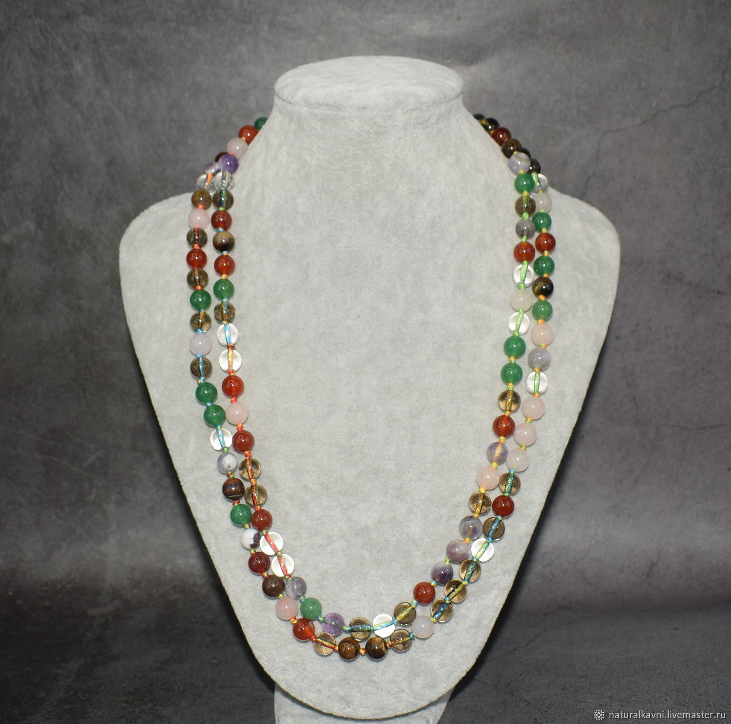 Long necklace with natural stones: carnelian, amethyst, jade, Beads2, Moscow,  Фото №1