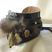 Украшения handmade. Livemaster - original item Boho leather bracelet with Jasper