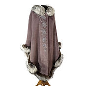 Одежда handmade. Livemaster - original item Author poncho with fur and embroidery. Designer Olga Lavrenteva. Handmade.