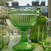 Винтаж handmade. Livemaster - original item Cream bowl, sugar bowl, green glass, Nuutajärvi. Handmade.