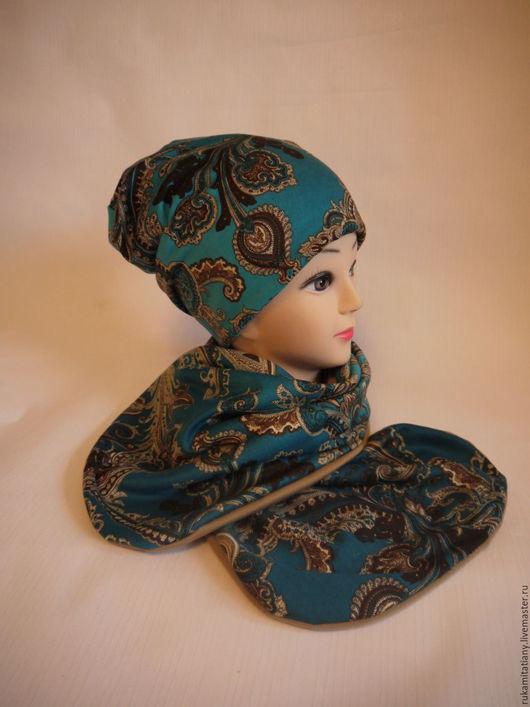 Шапки ручной работы. Ярмарка Мастеров - ручная работа. Купить Комплект шапочка и шарф. Handmade. Комбинированный, темплая