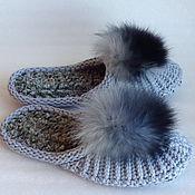 Обувь ручной работы. Ярмарка Мастеров - ручная работа Тапочки-шлепки, серо-голубые, 100%шерсть. Handmade.