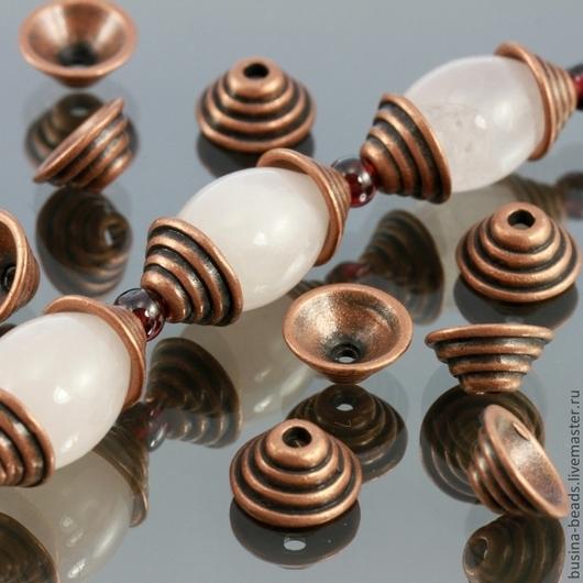 Шапочки для бусин в тибетском стиле Пирамидка цвета античная медь для использования в сборке украшений комплектами по 10 штук