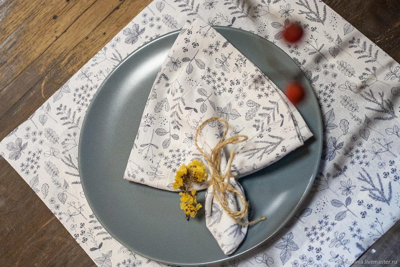 Linen molinia napkin on the kitchen table, Swipe, Kaliningrad,  Фото №1