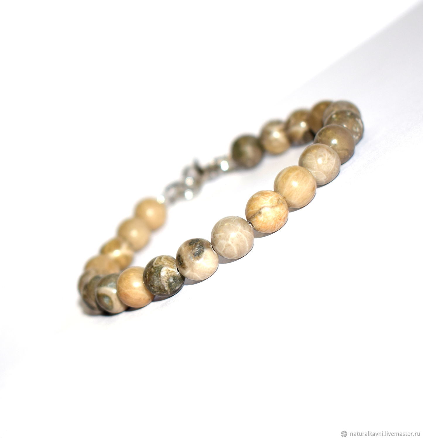 Bracelet grey natural fossilized coral. Indonesia, Bead bracelet, Moscow,  Фото №1