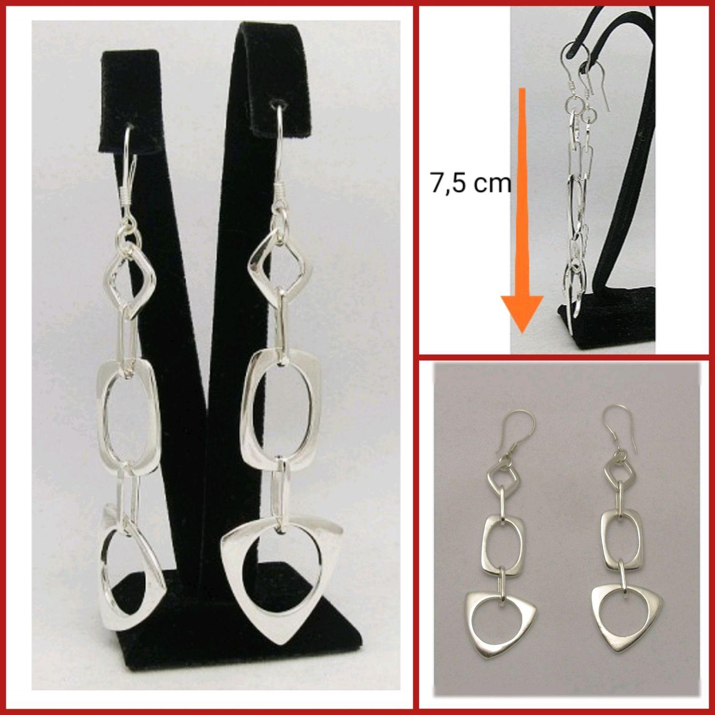 Hanging Long Earrings. large earrings. Geometric Earrings. Silver, Earrings, Turin,  Фото №1